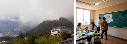 山の中腹の廃校をリノベーションした宿泊施設「ウマバ・スクールコテージ」は、企業の研修やワ―ケーション、ゼミ合宿などに活用できる貸し切り施設