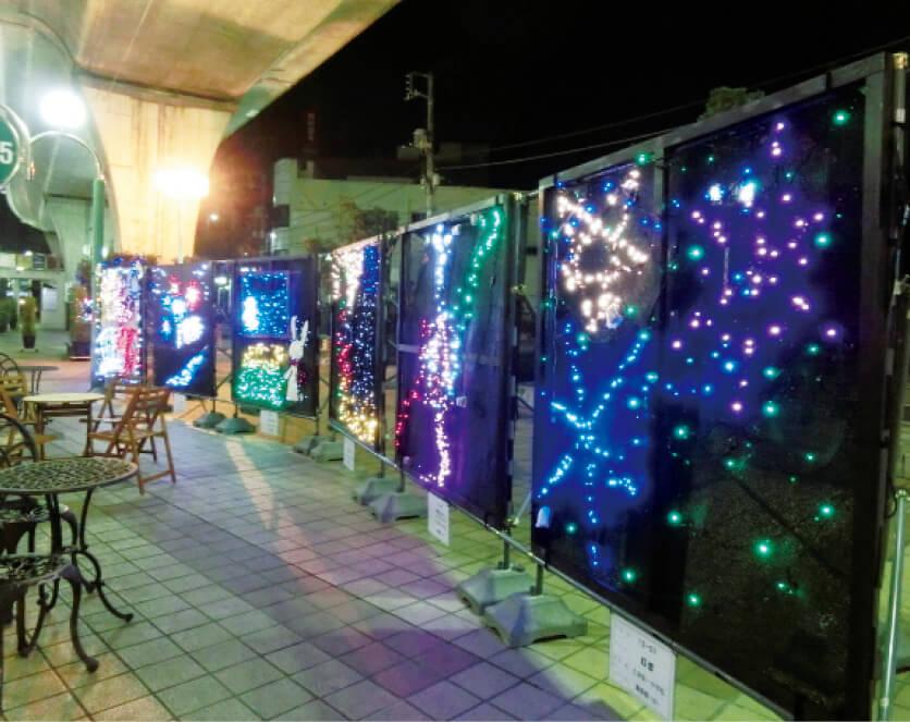 毎年11月下旬から翌年1月まで開催している「イルミネーションまつり」。テーマに沿って工夫を凝らした楽しいイルミネーションが夜の商店街を彩る