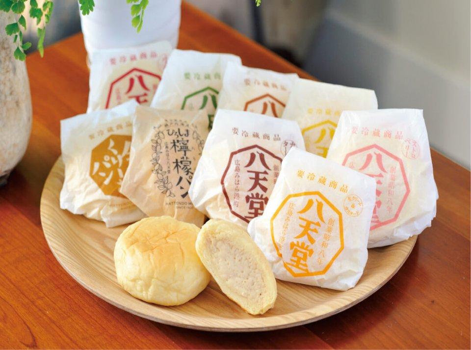 素材にこだわったさまざまな味が楽しめる八天堂のスイーツパン。「次に目指しているのはパンの手土産文化の確立です」(森光社長)