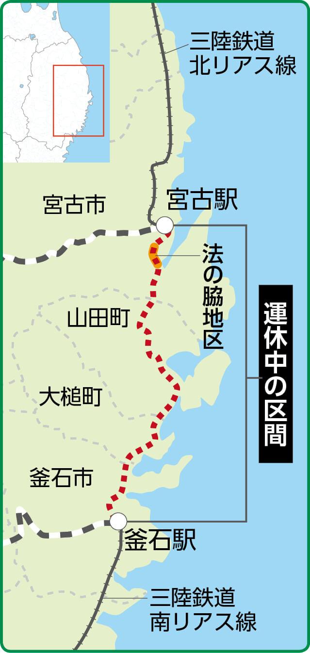 三陸鉄道の北リアス線と南リアス線をつなぐJR山田線の宮古―釜石間はまだ復旧できていない