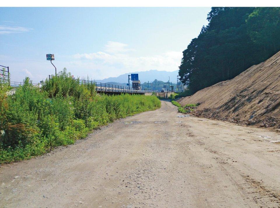 法の脇地区。JR山田線の復旧のために、かさ上げが予定されている