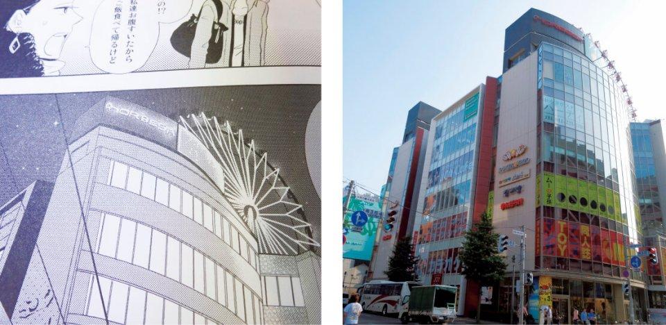 アミューズメントビルの「ノベルサ」は第1巻に登場。「札幌でカラオケといえば、マッシュですよ」と木戸さんたちが言うほど若者に人気のカラオケ店がビル内にある