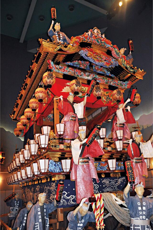 秩父夜祭会館では夜祭に使われる屋台や笠鉾が見られるほか、映写室で臨場感あふれる祭りの映像が見られる
