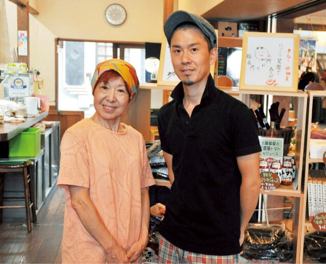 自家農園でとれた野菜などを使った料理を提供している「カフェまいん」の番場大吾さん(右)と番場久美子さん