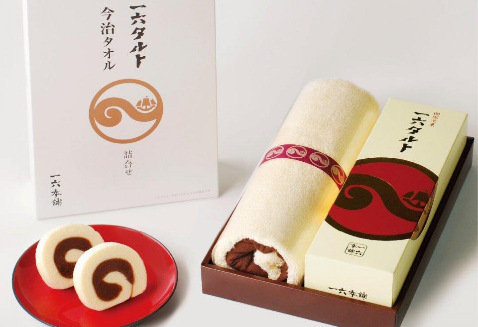 一六タルトと今治タオルの詰め合わせ。愛媛が生んだ伝統の味と注目のブランドタオルが初のコラボレーション