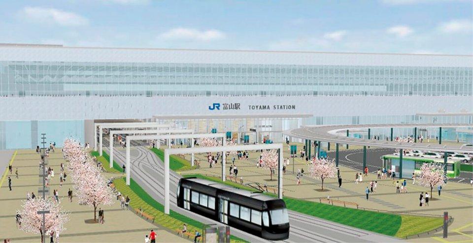 開業時は、北陸新幹線富山駅高架下から路面電車が発着するようになるが、将来は図のようにポートラムとセントラムが接続され、富山駅の南北を結ぶ