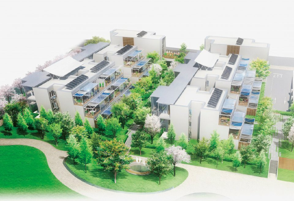 「パッシブタウン黒部モデル」の完成イメージ。「太陽、風、緑、水といった黒部の自然のポテンシャルを生かす」がコンセプト