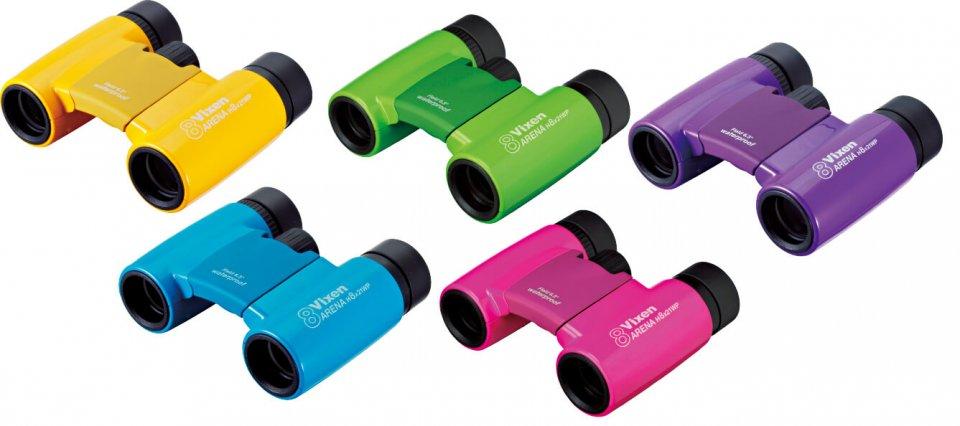 5色で展開する「ソラプティLite H8×21WP」の本体。レンズ径を小さくして小型軽量化し、持ち運びやすいのが特徴