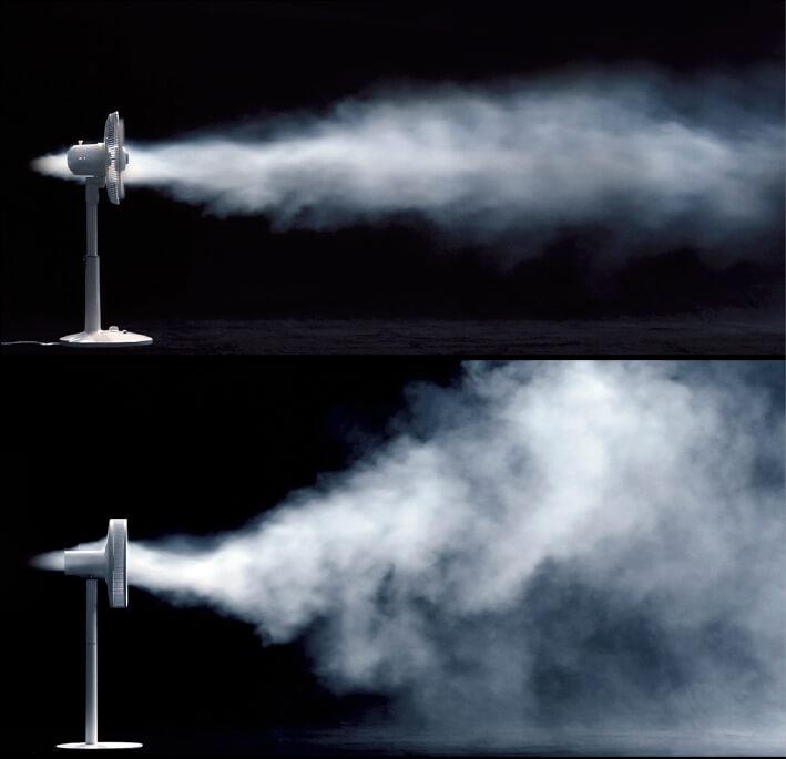 1枚のファンから生み出される2種類の風は、その速度差により1点に集中して渦成分がなくなり、面で移動する風に生まれ変わる。上段は従来品、下段がグリーンファン