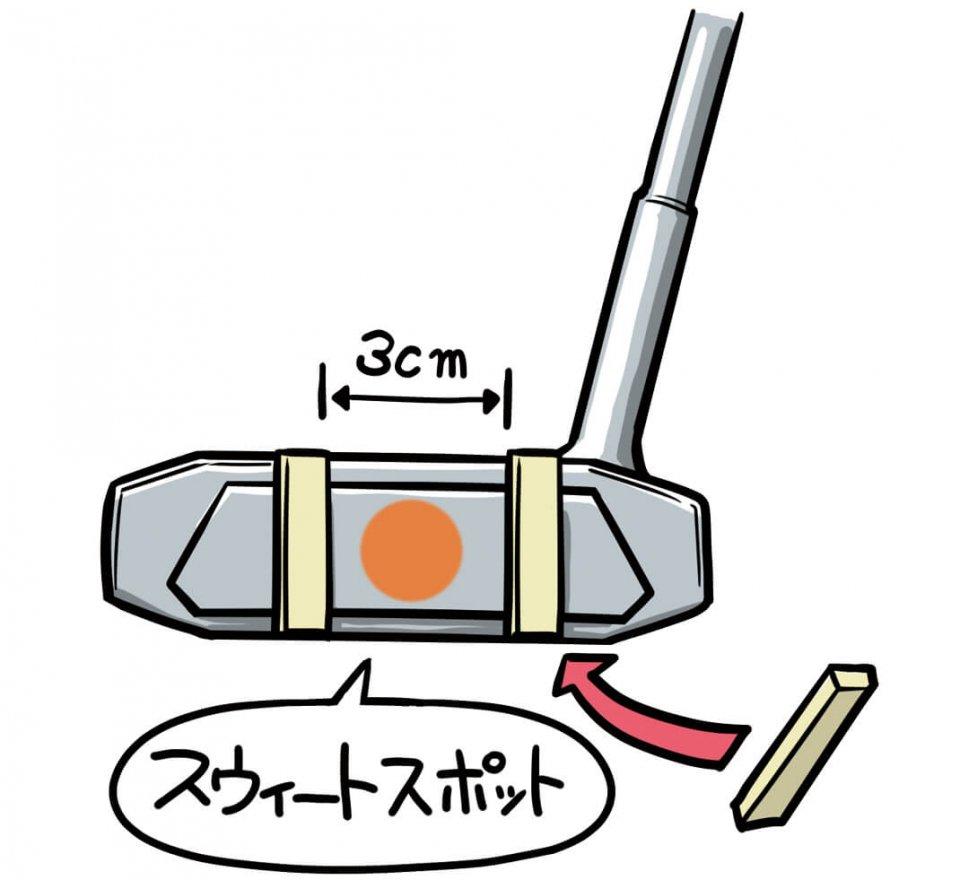 スウィートスポットを中心に、フェースに割り箸を3㎝幅で貼る。その間で打つように練習をしてみよう