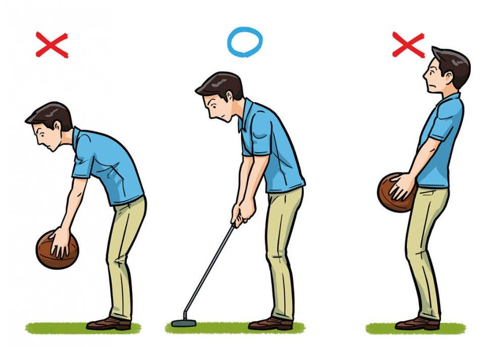 3kgのメディシンボールを持ってみると、重さを感じないで楽に持てる姿勢があるはず。その姿勢がいいアドレスの形だと覚えておくこと