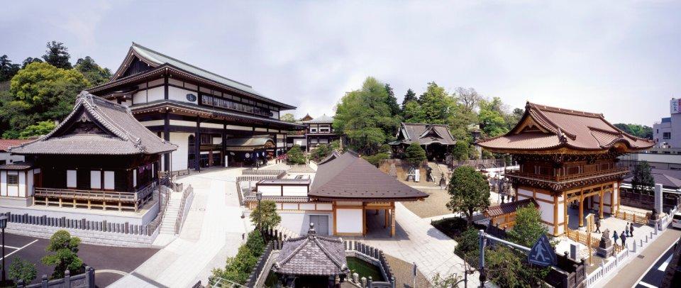 旅館の部屋からの眺め。成田山が一望できる特等席。お正月の風景は圧巻だという