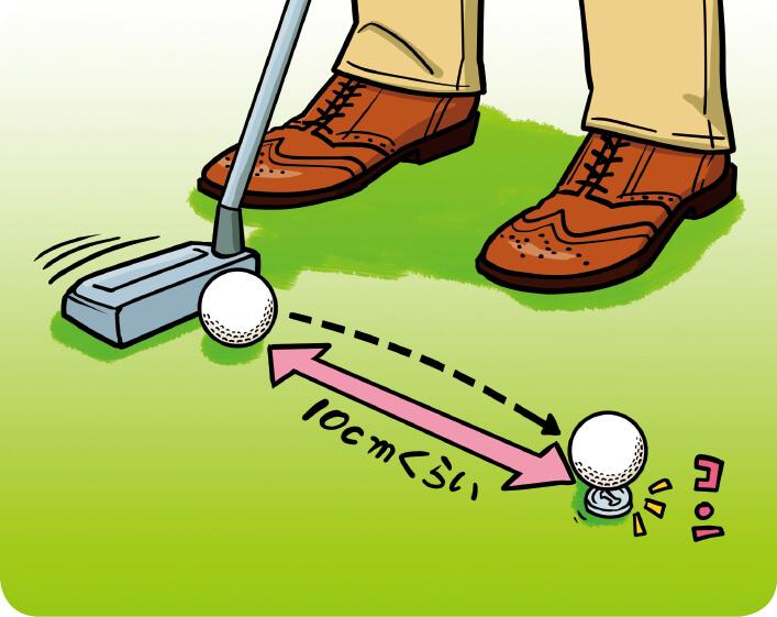 パッティング・ライン上のボールの先、10cmくらいの所にコインを置く。芯を外すとスキップが大きくなるのでコインに当たらない