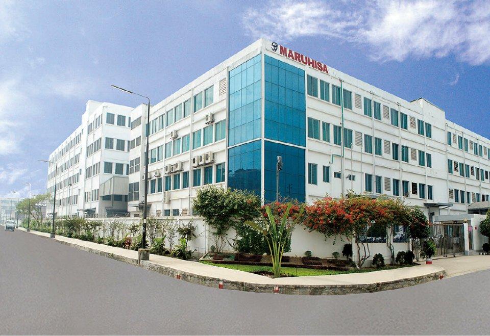 丸久のバングラデシュ工場。写真左手に工場が新たに増設される