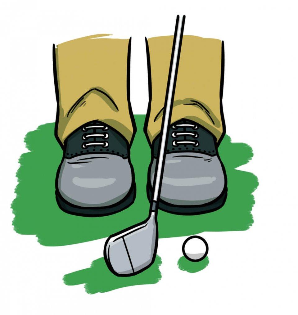 両足をターゲットラインに直角にすると、左に寄っているのがよく分かる
