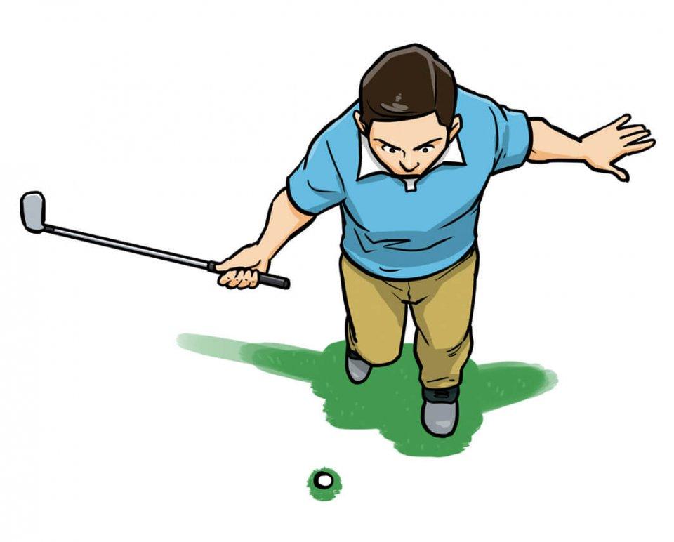 右足を一歩引いて、つま先だけ地面につけ、左足に体重を乗せ右手一本で打つ。余計な体重移動や体の動きを抑え、ヘッドを上から入れる感覚や体の動きで打つ感覚が自然と身に付いてくる