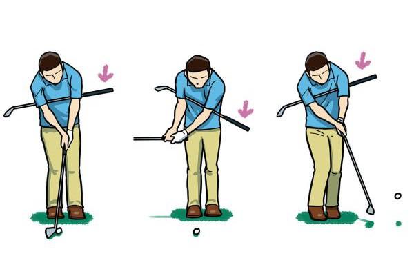 両脇に挟んだクラブが落ちないようにすることで手打ちも直る。インパクトで手首を折ったりせずに、足と腹筋、背筋を使って打つ。このとき、体の左側にはみ出したシャフトが打った後に、前から見ている人に見えない場合は、肩が開きすぎている証拠
