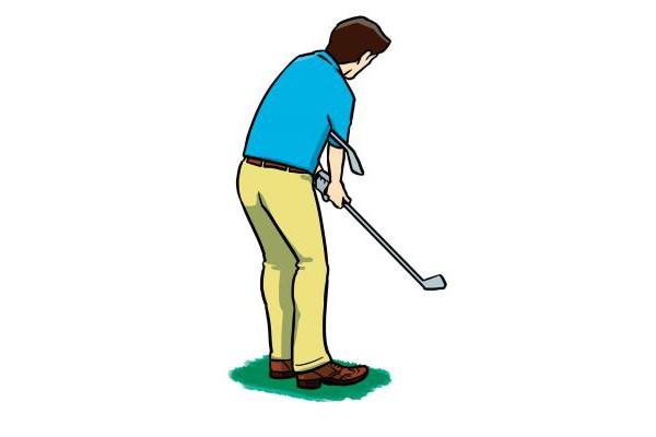 〇 インパクトで肩が開きやすく、ボールが左に飛んでしまう人は、脇に挟んだクラブが横に動いている証拠。シャフトが縦方向に動くように体を動かせば、一直線にカップに向かっていく