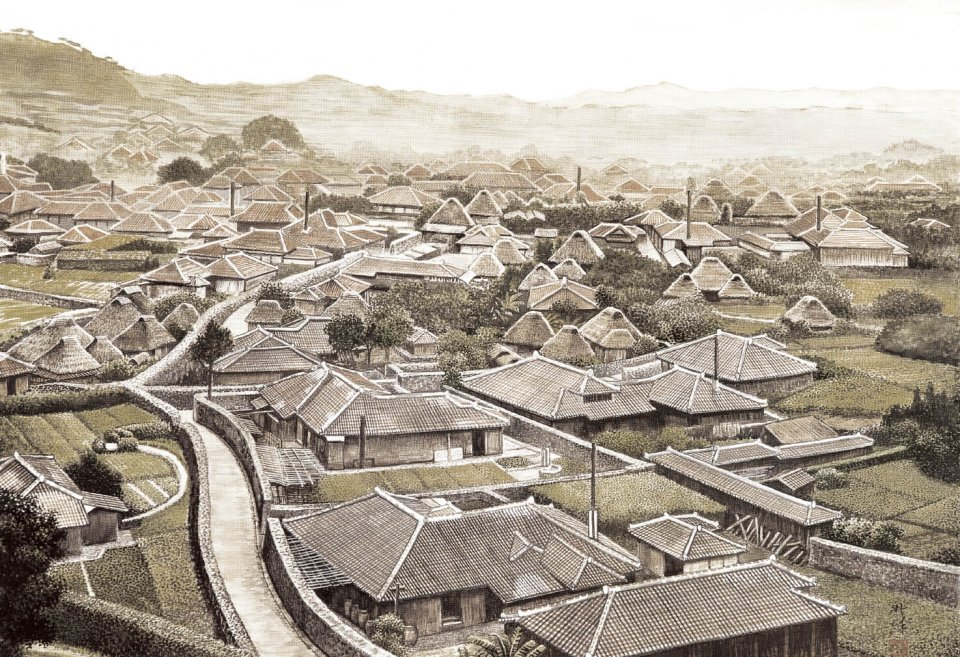 昭和初期の首里城周辺の様子を描いた風景画。煙突が立っているところが泡盛の醸造所