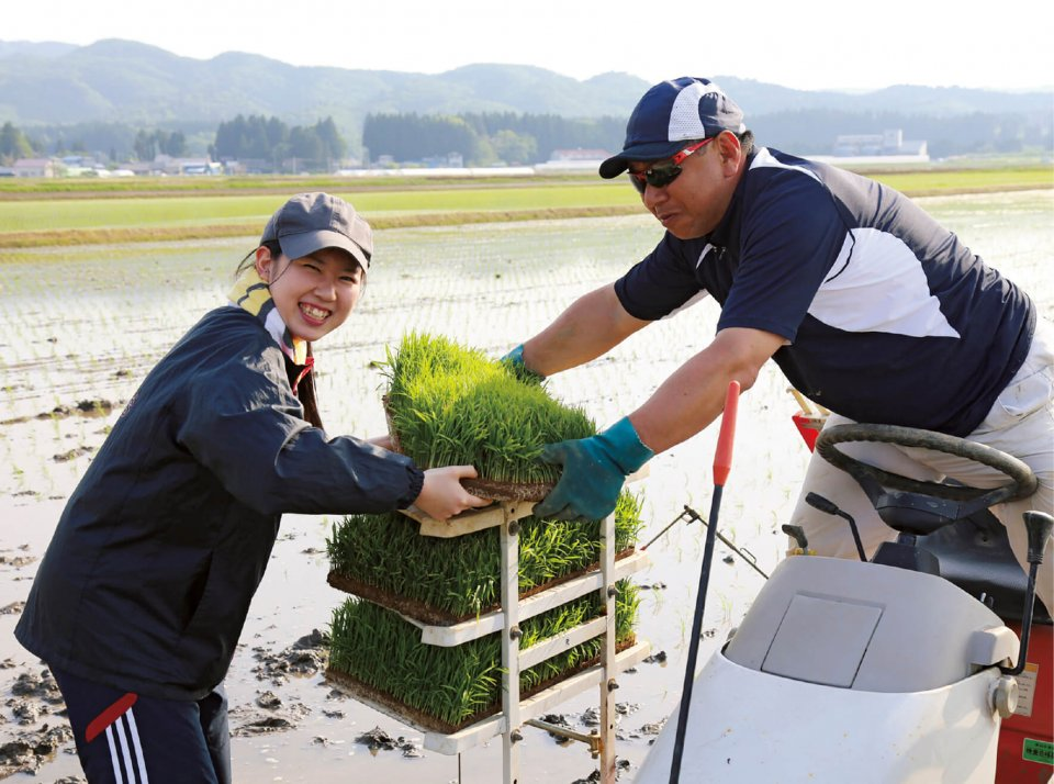 秋田印刷製本の社員教育の一環として、社員は農作業を 体験する。田植えから収穫までの一連の農作業を体験することで商品の理解が深まる