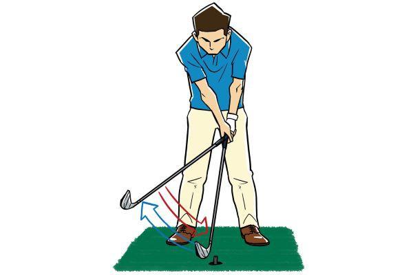 「引き打ち」の練習法 ゴムのティを目標にして、当たりそうなところでヘッドを引き戻す。ヘッドを狙った1点に入れる練習にもなるし、引き打ちがうまくなる