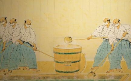 江戸城まで運ぶための温泉を汲(く)む様子を描いた「御汲湯図」