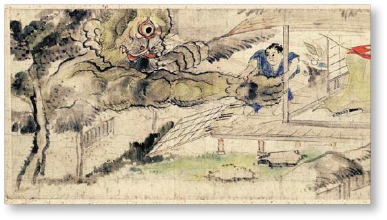 稲生物怪録:髭手の大男出現の怪(稲生物怪録 堀田家絵巻より)