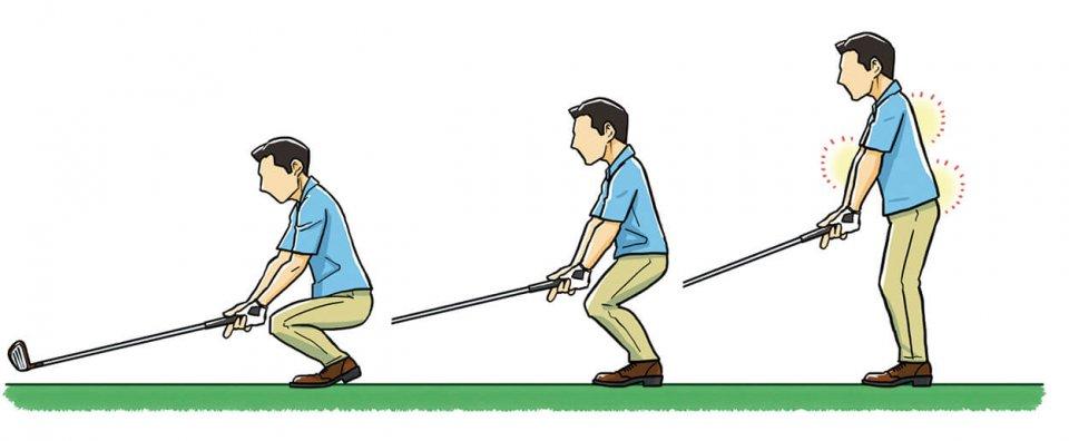 1.クラブを持って座り、クラブを地面からわずかに浮かせる 2.背すじを伸ばしてつま先に体重をかけ、ゆっくり立ち上がる 3.すると、自然にお尻の上がったいい構えができる。このときヘッドは地面から浮かせたまま、クラブの重さをひじ、腰、背中、下半身で感じることが大切