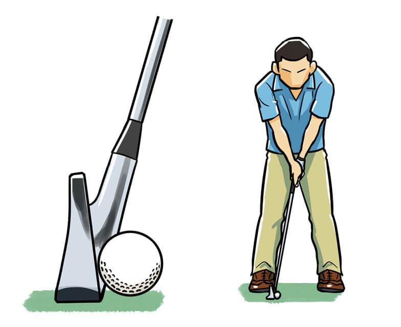 ボールを体の右に置いてロフトを立てれば、8Iでも5Iの高さで打てる