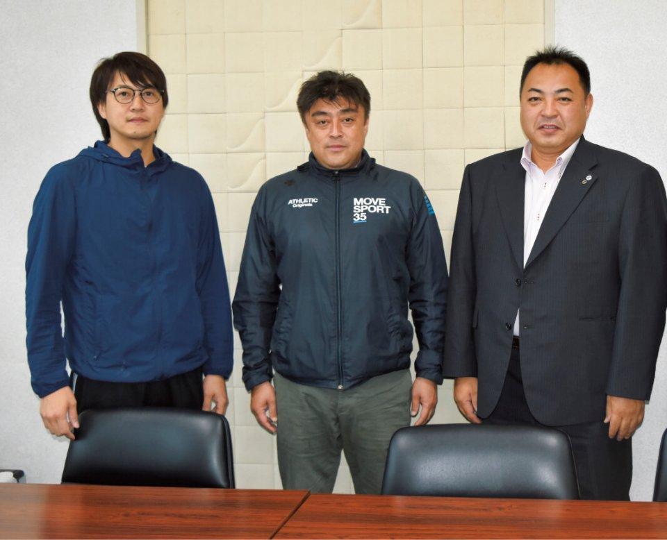 特産品開発事業で中心的な役割を果たしてきた青年部のメンバー。右から森悦男さん、山﨑彰則さん、能戸俊憲さん