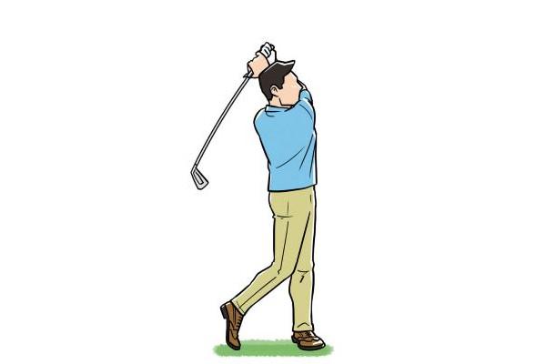 左足一本で立つ練習 ❶まず腕を組んでスイングし左足一本で立つ!