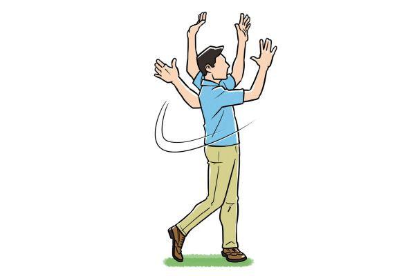 左足一本で立つ練習 ❷次に力を抜いて腕を垂らしてスイングし左足一本で立つ!