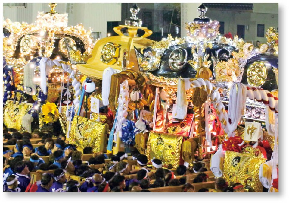 千年の祭り:古式を今に伝える伝統の祭礼。高砂のまちの秋を彩る人と神のハレの舞台であり千年続く日本人の原風景を伝える。毎年10月に勇壮に行われる
