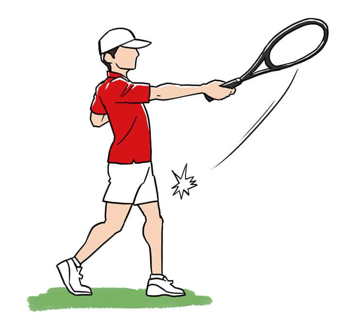 ラケットでボールを正確に捉えるには、体をクローズにしたまま左足で踏み込んでいくこと