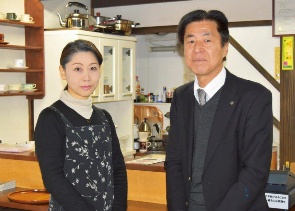 「会遊亭」亭主の田口宣雄さん(右)と高野しのぶさん