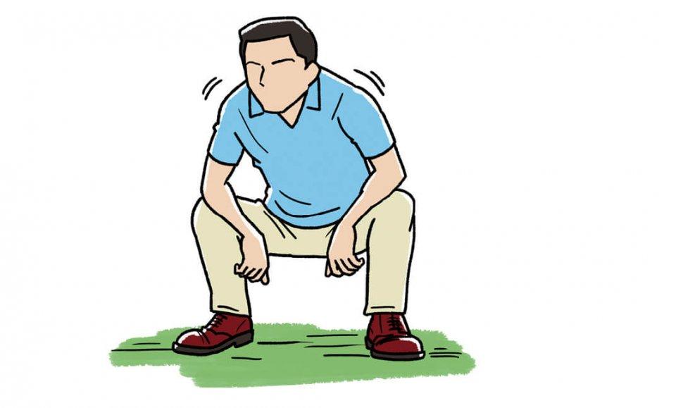 スタート前は足の裏やふくらはぎをこすったり、四股を踏んで股関節のストレッチをしたりして、下半身を中心にウオームアップしておく