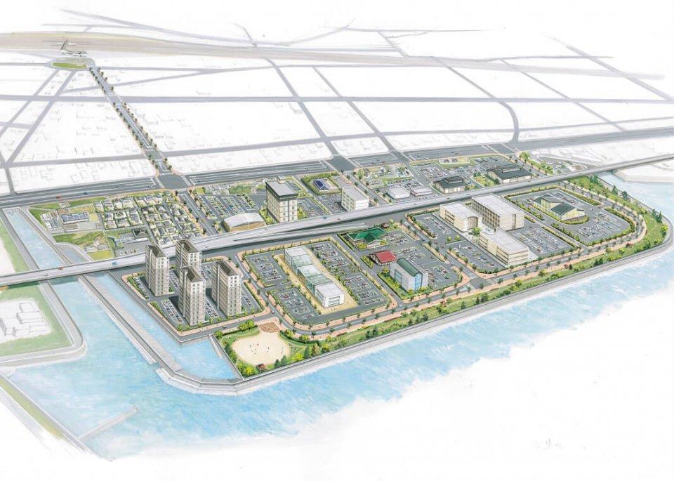 将来イメージ:JR荒尾駅と2012年3月に閉鎖された荒尾競馬場周辺。荒尾競馬場跡地は、「人・自然・新たな交流を育む ウエルネス拠点」として整備される
