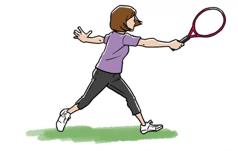 ボールをトスしてもらい、右手1本で打つ。当たるようになったら、どんどん踏み込み、どんどん手を返して強く打つ