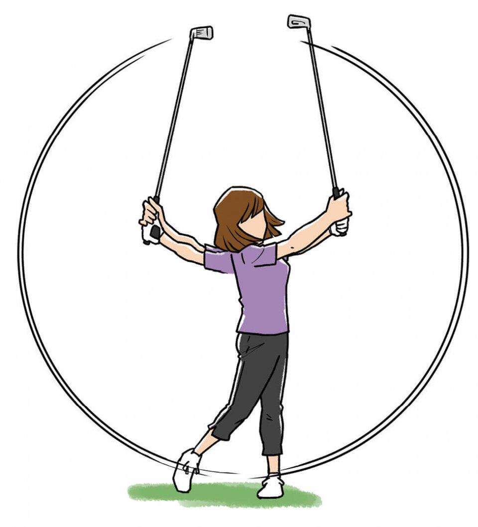 フェースを返す感覚を磨く練習 バックスイングではシャフトの左側が体の正面を向くように。インパクト以降はシャフトの右側が体の正面を向くように。この素振りを繰り返せば、フェースを返す感覚がつかめる