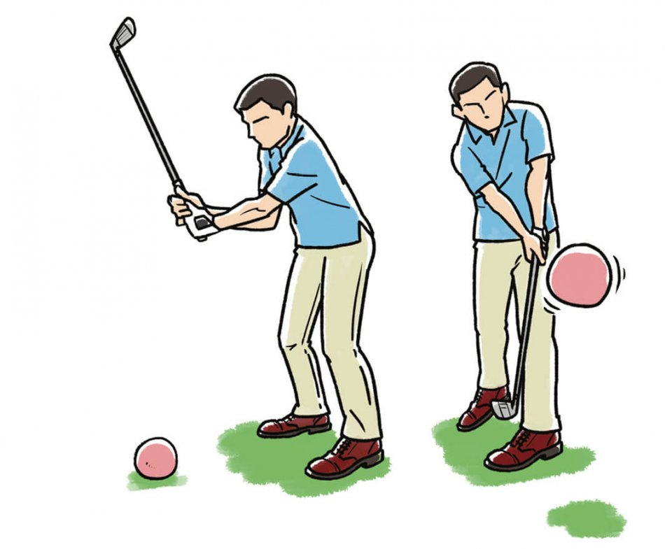 大きいボールだと無理に当てようとしないので自然に上体の力が抜けて、重いボールを打つことにより、体幹部の力を使う感覚が身に付く