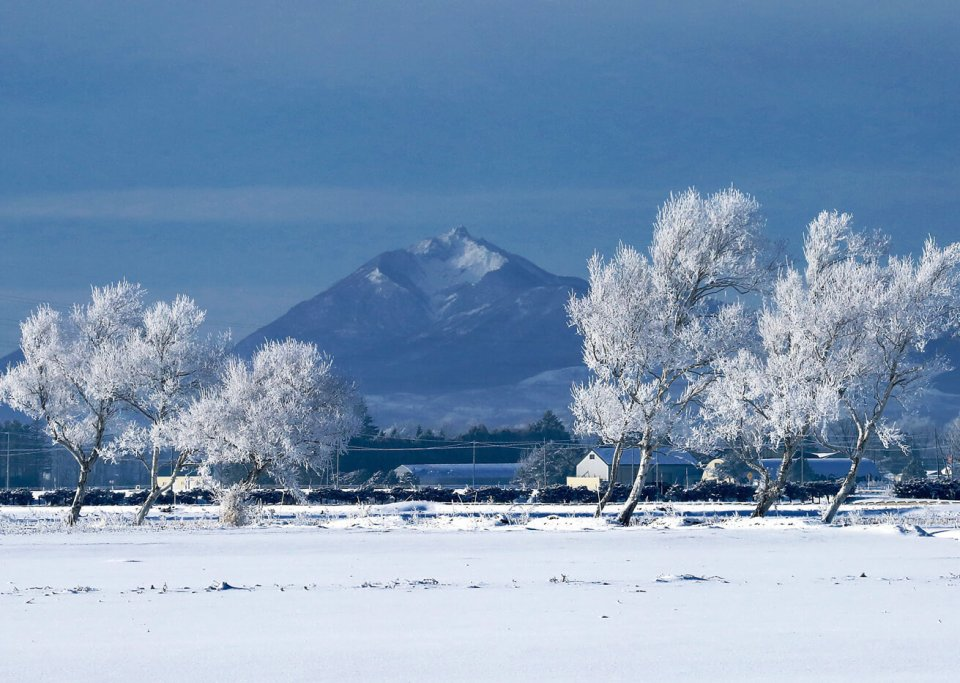 冬の恵庭岳/青空に映えるとがった山頂が特徴