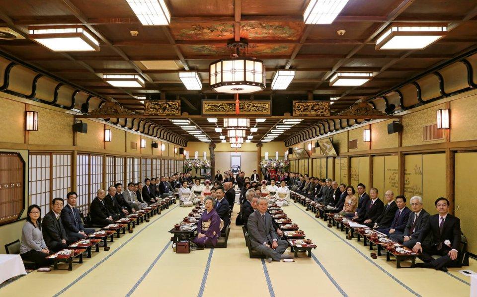 昨年3月に宇喜世の大広間で開催された「百年料亭ネットワーク」の創設祝賀会