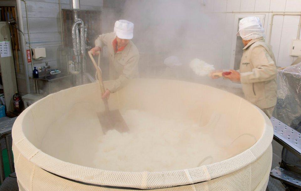 天鷹酒造では一般の米を使った日本酒も生産しており、その後の徹底洗浄でいかなる残留物も有機日本酒に混入しないようにしている