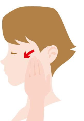 ③耳下腺マッサージ 上の奥歯の付近にある耳下腺に、親指以外の指を当て、グルグルと円を描くように10回マッサージする