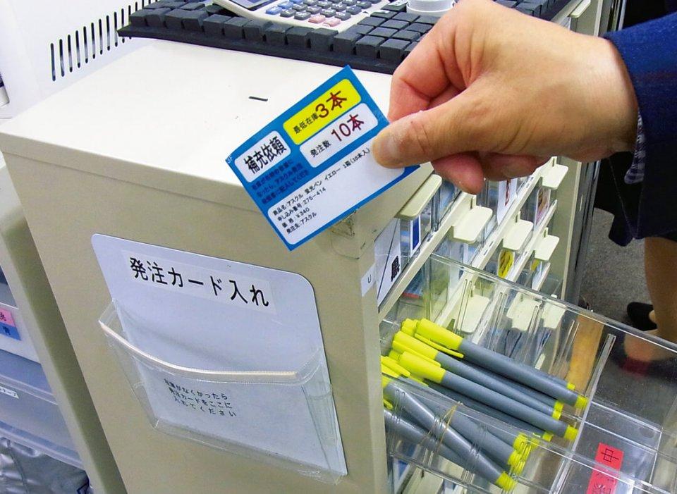 社内で使う文房具の補充をシステム化。在庫が3本になると、引き出し脇の発注ホルダーにカードを入れ、在庫切れを防ぐ