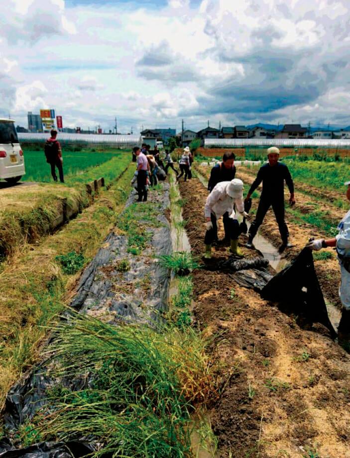 専用の農園では農作業で汗を流すことも