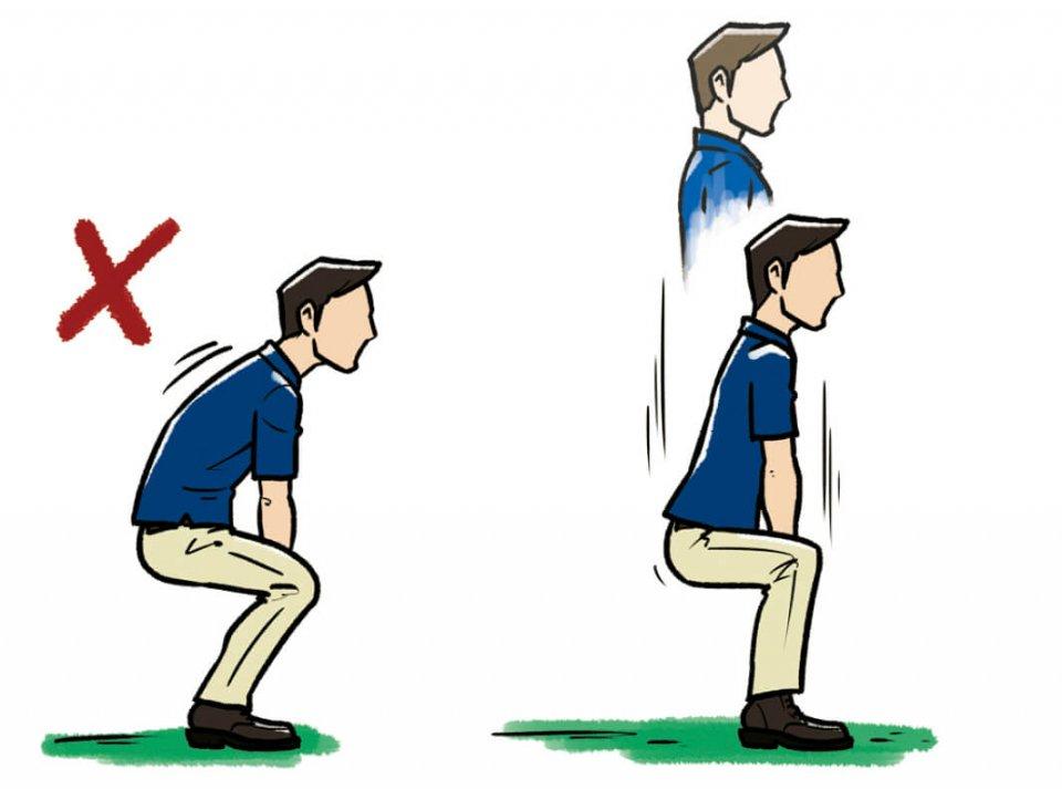 (2)股関節が入る感覚をつかむスクワット 背筋を伸ばし、ひざが前にでないようにスクワットすれば、股関節を入れるという感覚が自然に分かるはず