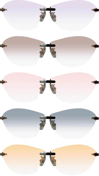 女子開の開発した「肌美人」は全7色。のちに鯖江の眼鏡フレーム工場と提携してコスメティックサングラス「肌美人+(プラス)」を生み出す