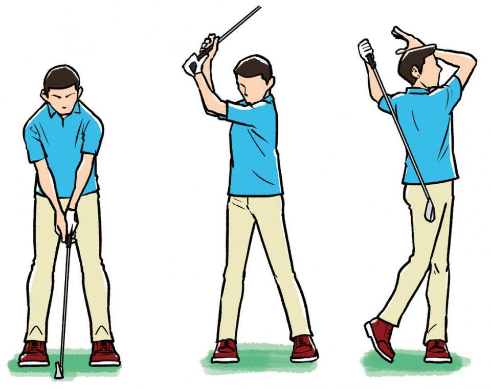 このグリップでスイングすれば、絶対に右ひじが浮き上がらない。すると上体が先行する動きを防ぎ、右ひじがクラブをリードする。そのことで自然な軌道でダウンスイングできるようになる。