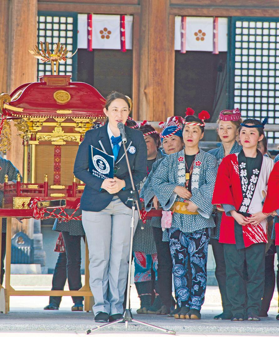 防府天満宮にて、公式認定員がギネス世界記録達成を発表